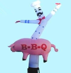 Cook Shape Inflatable Tube Man With BBQ Logo Printing